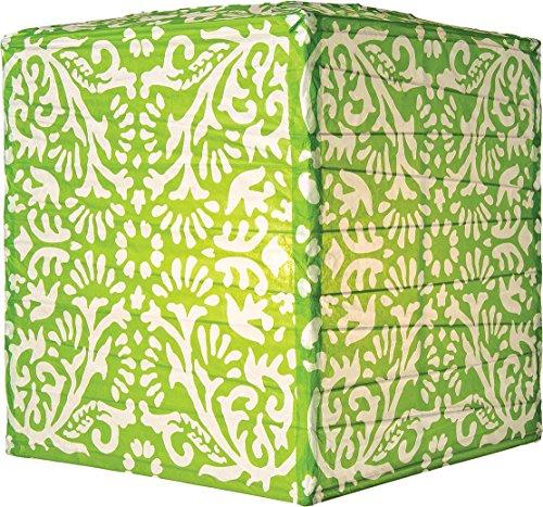 Luna Bazaar Grass Green Block Printed Square Paper Lantern