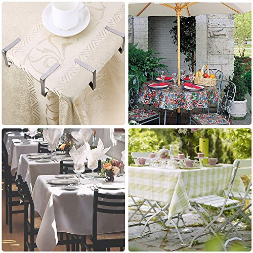 Bestxun Picnic Tablecloth Clips, 24 Pack Outdoor Table Cover Clips Flexible Stainless Steel Table Cover Clamps for Inside Outdoor Patio Park Garden Birthday Wedding Party ( 2 Sizes Included) by Bestxun (Image #5)