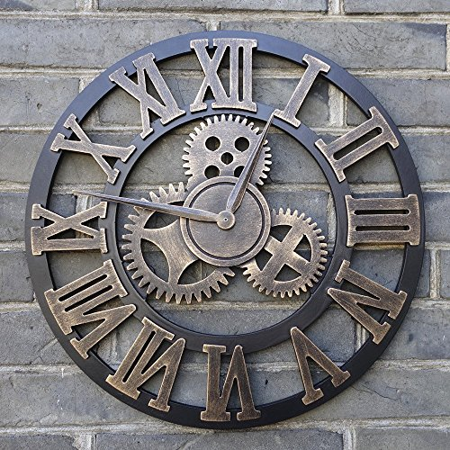 18 Inch Vintage Wall Clock – Roman Numerals Gold – Antique Oversized Retro Handmade Wooden 3D Gear Design – Rustic Decorative Luxury Art Big Gear Larg…
