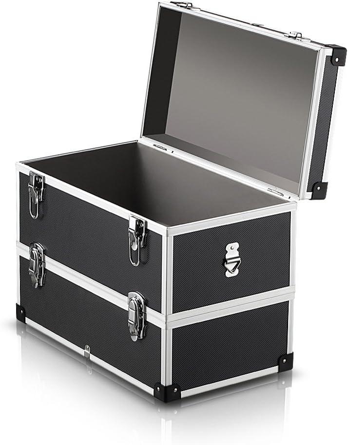IKAYAA Caja de Herramienta de 2 Capas con Asa y Cintur/ón Maletin Aluminio Multiuso para Coche Casa /… 2capas