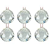 Odishabazaar Hanging Faceted Crystal Ball 40 MM White Transparent