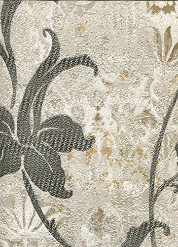 Floral Wallpaper With Glitter Gold And Climbing Flower Black On Fund Champagne Golden Reflections Trussardi