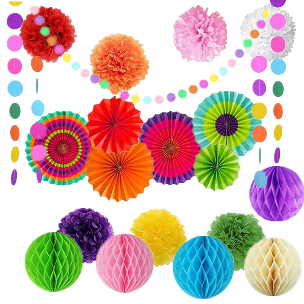 20Pcs Colorful Paper Fans Tissue Flower Honeycomb Balls Rainbow Paper Pom Poms Colorful Party Decorations Rainbow Garland for Birthdays,Wedding,Carnivals,Fiesta Party,Festivals