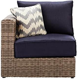 Naples Outdoor Sectional Pieces  LEFT ARM RIGHT ARM SECTIONAL CHAIR  GREY  NAVY. Amazon com   Naples Grey Wicker All Weather Patio Parson Chairs