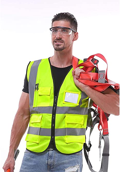 ChYoung Hohe Sichtbarkeit Rei/ßverschluss vorne Sicherheitsweste Multi Taschen reflektierende Weste Stra/ße Workwear L 2XL fluoreszierend gelb