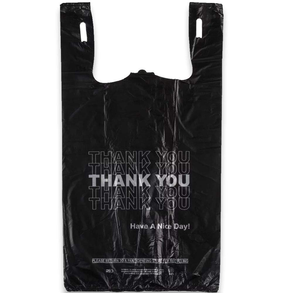 T-shirt Bags Heavy Duty Gift Carrier Market Bags in Bulk 75 Pack Netko Thank You Shopping Bags Plastic Grocery Reusable Black Bags
