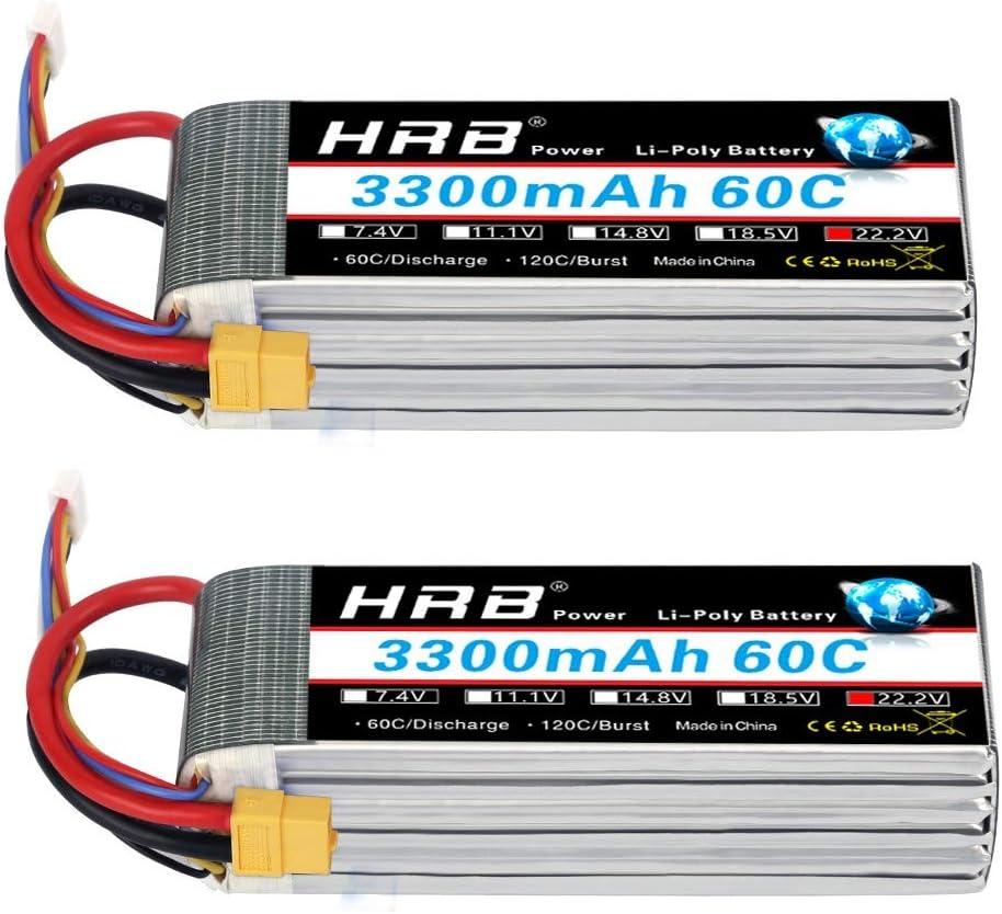 HRB 2pcs 6S 22.2V 3300mAh 60C Batería Lipo con XT60 Plug para RC Helicóptero Avión Coche Barco Barco