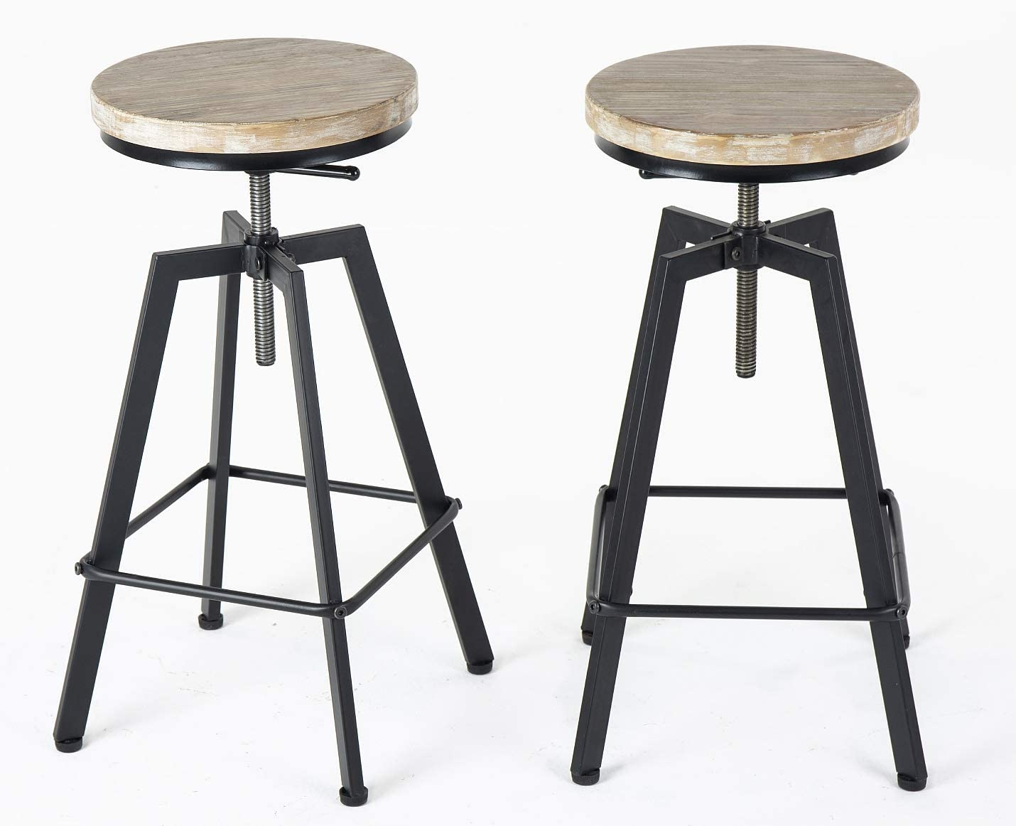 URANMOLE Industrial Bar Stools Chairs for Bistro Pub Breakfast Kitchen Coffee, Round Wood Seat, Metal Legs, Bar Counter Height Adjustable Swivel, Set of 2