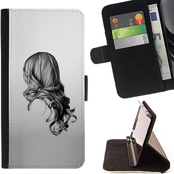 For Samsung Galaxy E5 E500s Type Fille Noir Blanc Dessin