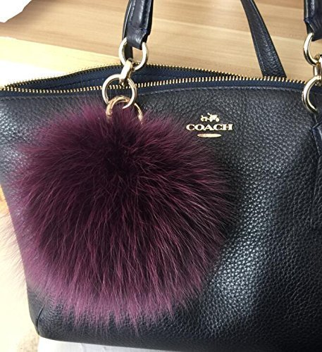8d0183afd6 Amazon.com  Purple Fox Fur Keychain Large Pompoms Purse Bag Charm  Handmade