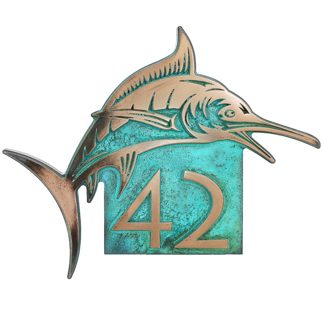 Marlin Home Number Plaque 18x14.5 - Raised Bronze Verdi Metal Coated Sign