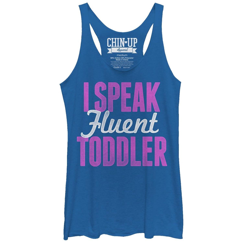 CHIN UP I Speak Fluent Toddler Womens Graphic Racerback Tank