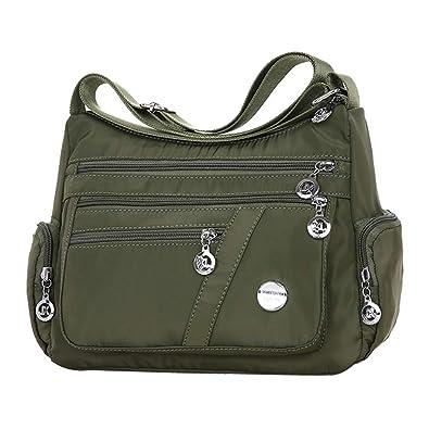 f14e6a4f17f5 Amazon.com: Women Nylon Oxford Satchel Multiple Pockets Medium ...