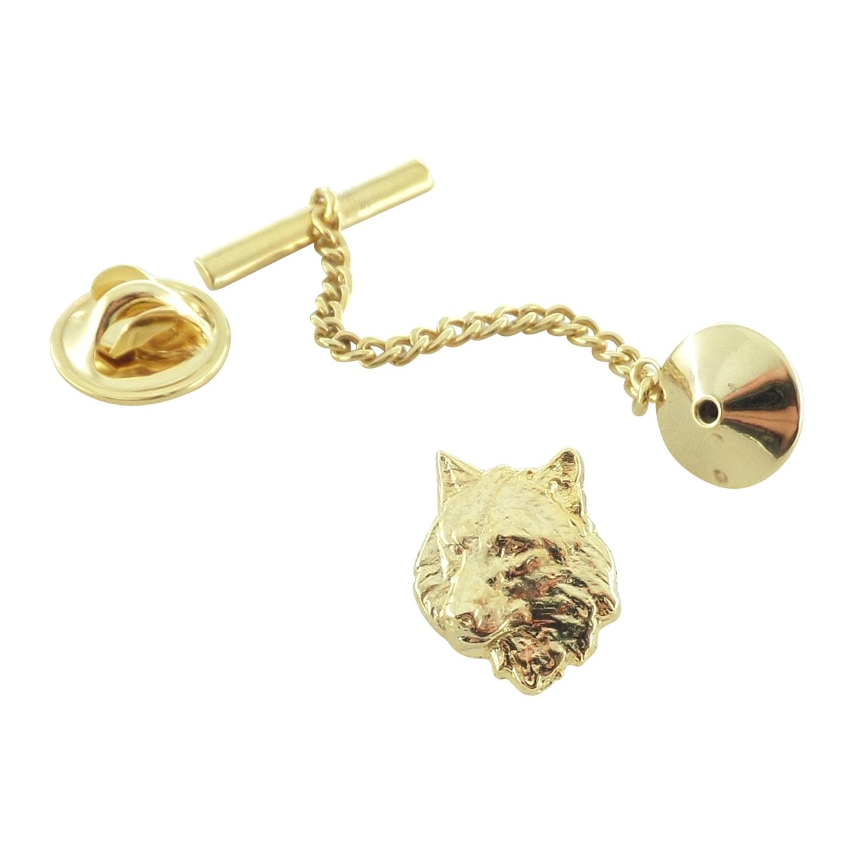 Creative Pewter Designs, Pewter Wolf Tie Tack, Gold Plated, MG041TT