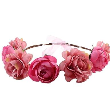 amazon eliffete romantic flower wreathヘッドバンドウェディング