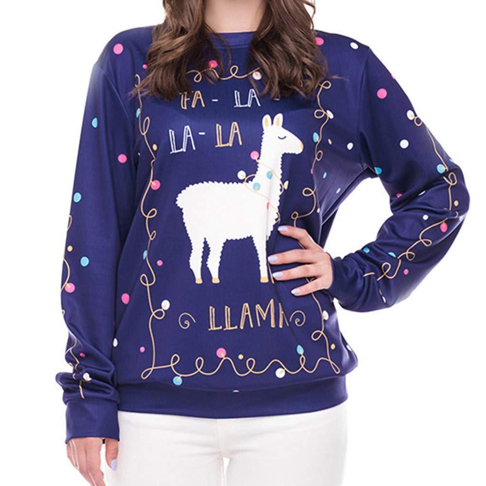 Girls' Novelty Hoodies, Womens Christmas Santa Printing Circular Collar Sweatershirt Tops Blouse M, (Navy, M)