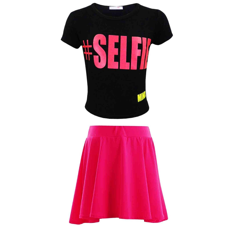 Kids Girls #Selfie Crop Top /& Fashion Skater Skirt Set 7 8 9 10 11 12 13 Year.