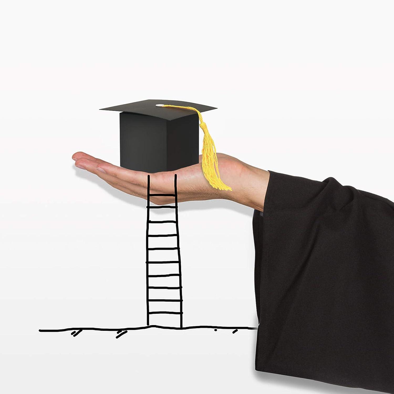 Scatole di caramelle Graduation,KATOOM 30pcs Contenitore di regalo a forma di capezzale Regalo di laurea nero Celebrazione di caramelle Scatola dolce con nappe gialle per la cerimonia di laurea Festa