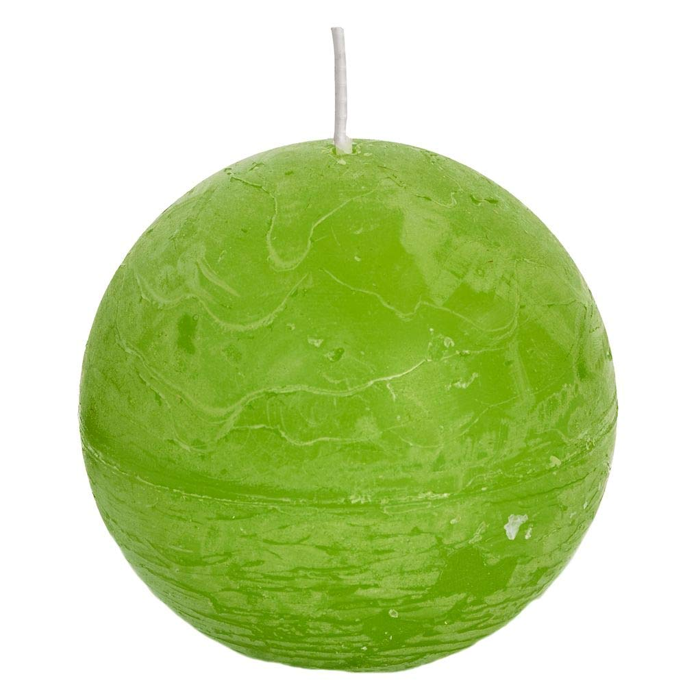Spaas 6 Rustic Unscented Ball Candles, Paraffin Wax Fresh Green, D x H 100 mm