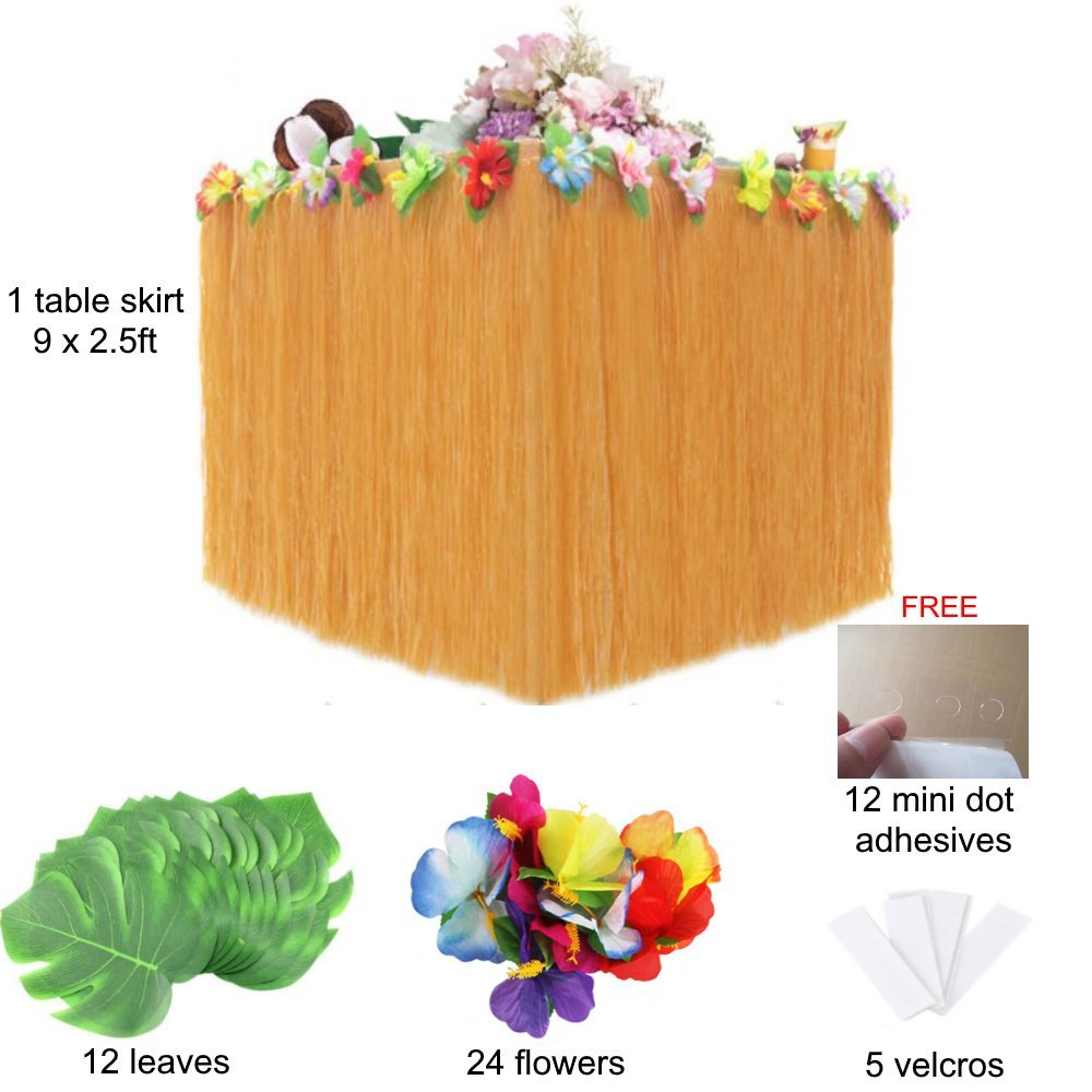 Moana Birthday Party Decorations. Hawaiian Luau Party Decorations Pack of 1 Beige Table Hula Grass Skirt + 24 Flowers + 12 Leaves + 5 Velcros +Stickers. Maui, Aloha, Hawaiian Theme Party Supplies Set