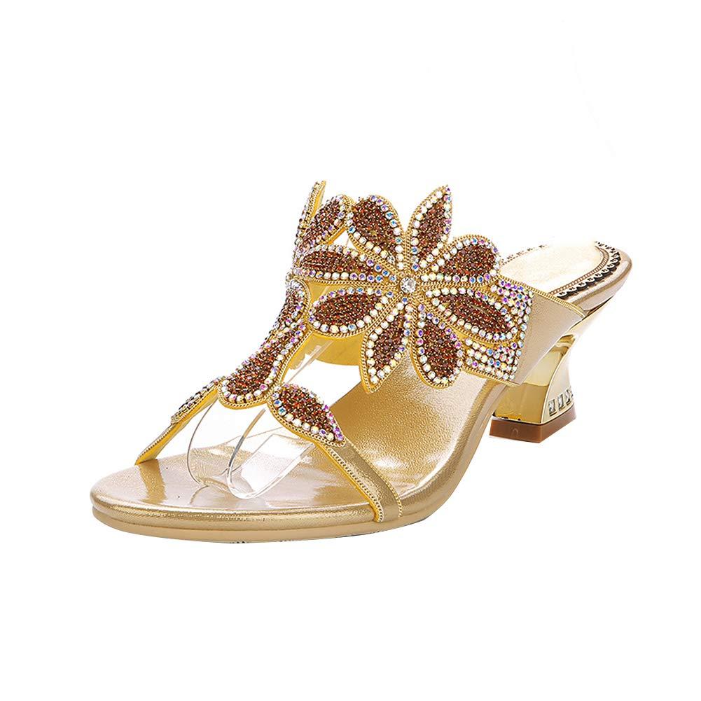 gold Women's Rhinestone Beach Slippers Summer Thick Heel Flower Decoration Leisure Slippers Bar Get Together Sandals