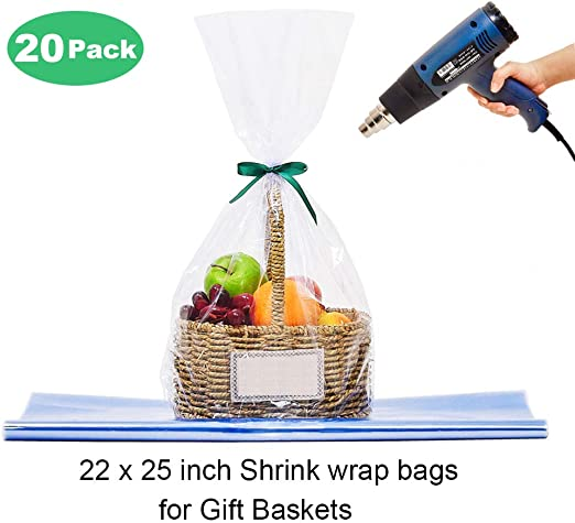 Lazyme Clear Basket Cellophane Wrap Bags Pvc Heat Shrink Bags For Gift Basket 22x25 Inch 20 Pcs