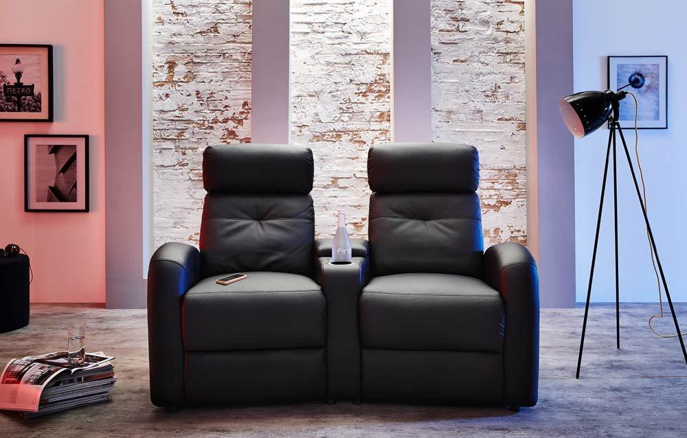 heimkino sessel 2er kinosessel cinema tv sofa relaxcouch kunstleder schwarz ikea