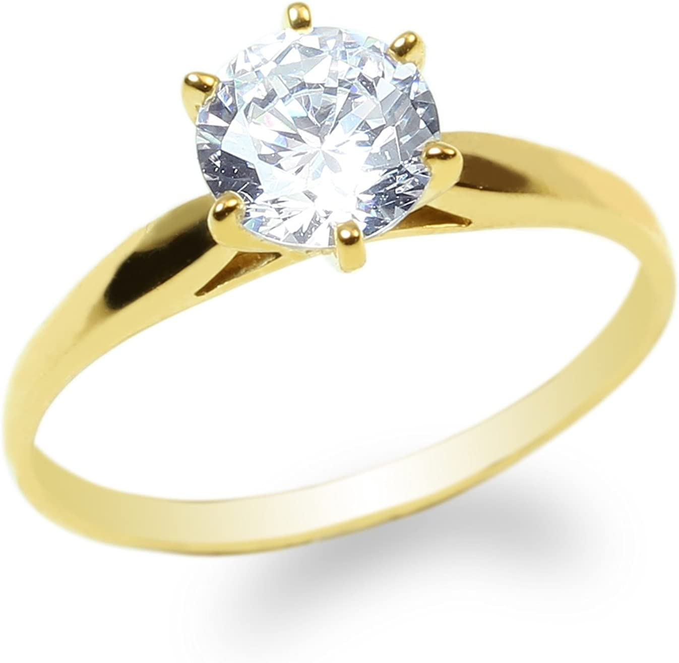 Ladies 10K Yellow Gold Solid Solitaire Ring 0.9ct Round CZ Clear Size 4-10