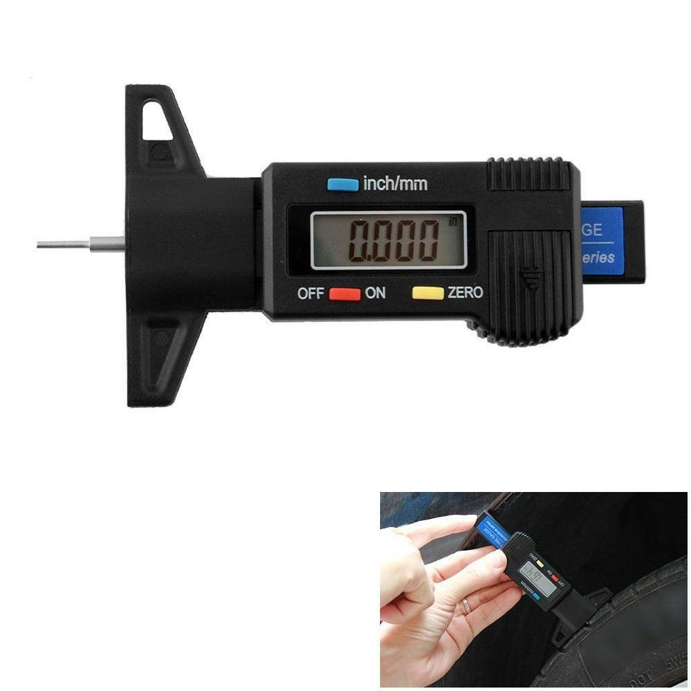 KOBWA Pneumatico profondimetro Digitale, 0–25.4mm Ampio Display LCD Pollici/mm Regolabile profondità del battistrada Strumento di misurazione da Moto Auto Furgone Pneumatici