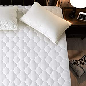 "MEROUS Queen Mattress Pad Quilted Fitted Cooling Mattress Cover Hypoallergenic Down Alternative Fill White Mattress Topper - Deep Pocket Fits up to 8""-21"" (Queen)"