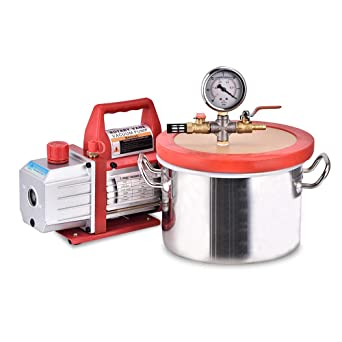 Vacuum Chamber Kit for Degassing with 3.5 CFM Single Stage Vacuum Pump HVAC 1.5gallon Liter Vacuum Chamber with Pump Lab Vacuum Desiccators Vacuum Chamber Sealer TOPQSC 6.8