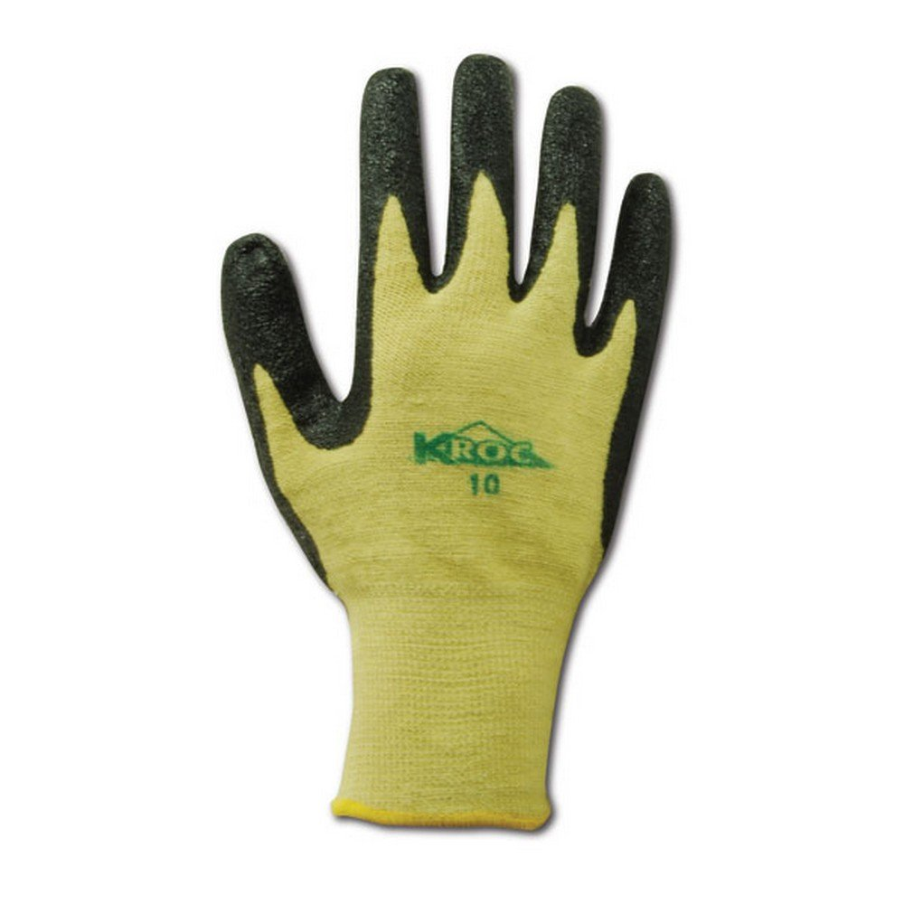 Magid Glove & Safety KEV8616-7 Magid K-ROC KEV8616 Para-Aramid Nitrile Palm Coated Knit Gloves - Cut Level 4, 12, Yellow , 7 (Pack of 12)