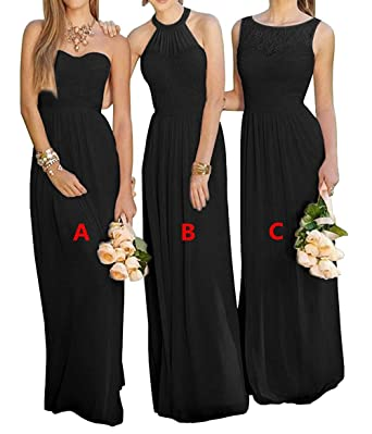 Cdress Womens Halter Pleats Chiffon Long Bridesmaid Dresses Prom Dress Wedding Formal Gowns Black-B