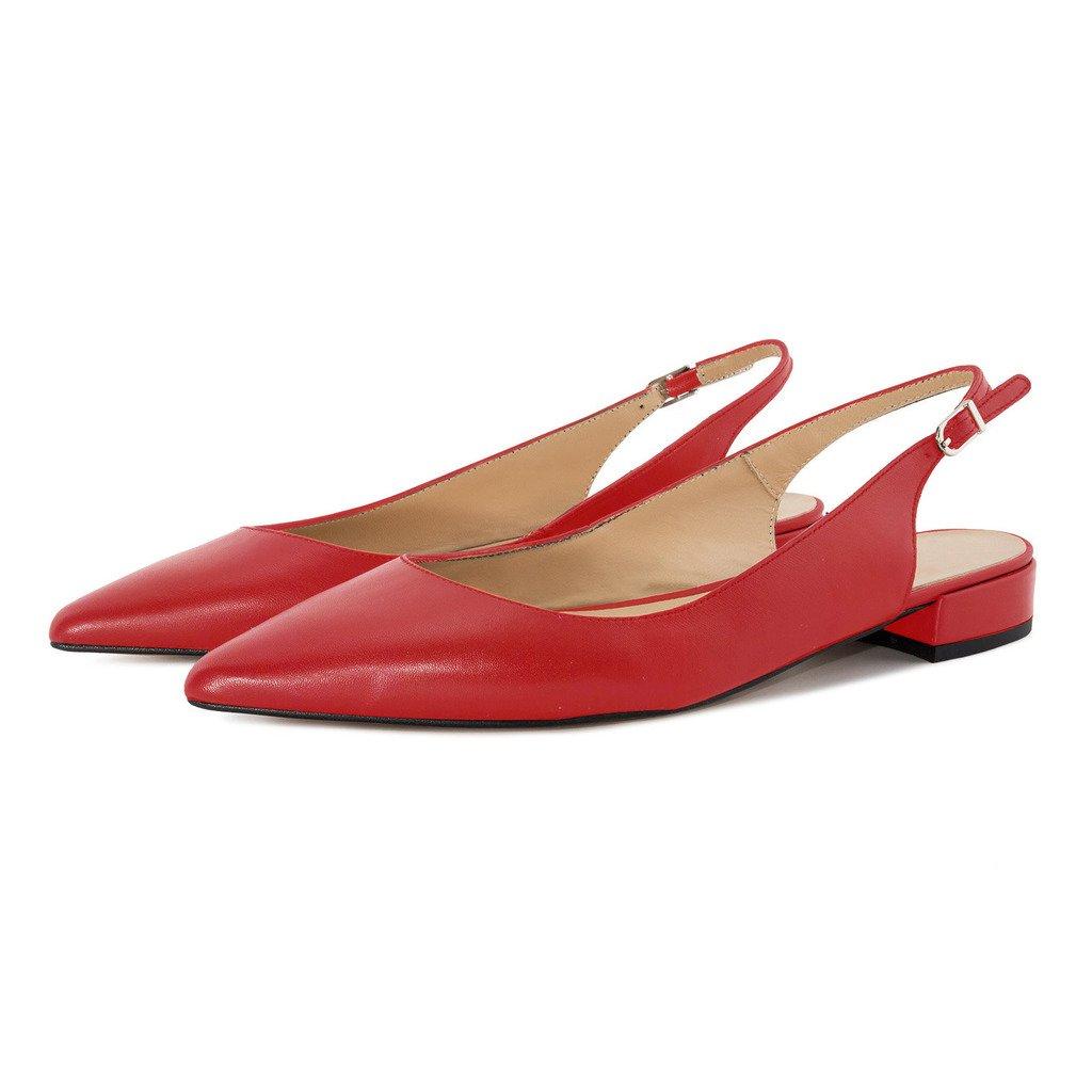 Eldof Women Low Heels Pumps   Pointed Toe Slingback Flat Pumps   2cm Classic Elegante Court Shoes B07CCZS23Z 9.5 B(M) US Red
