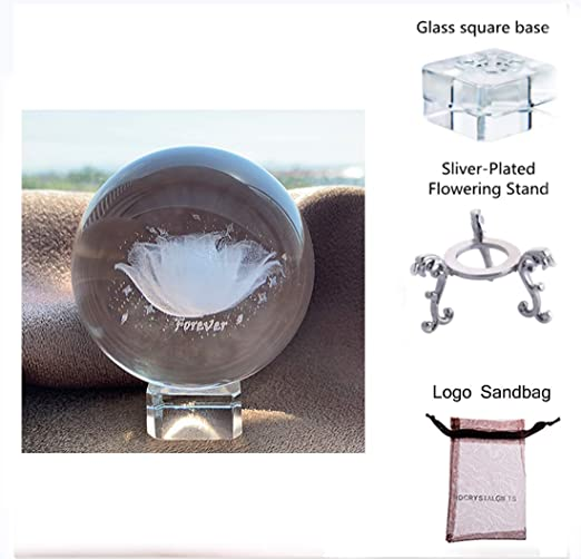LONGWIN 3.1 Inch Laser Engraved Glass Sphere Display Globe Meditation Ball Home Decor with Crystal Stand Christmas Gift Decoration Ornaments 3D Elk Crystal Ball Paperweight