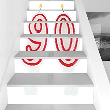 Stair Stickers Wall Stickers6 PCS Self Adhesive90th Birthday Decorations Burning