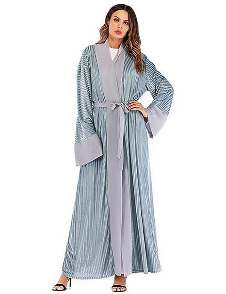 TAAMBAB Damas de Mujer Vestido Musulmán Abaya - Kimonos Vestido Largo Terciopelo Sueltos Abrigos Largos Boho Bata Kaftan Caftan Oriente Medio Ropa: ...