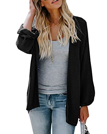 63de5db6cee104 Umeko Womens Cardigans Casual Knit Open Front Lightweight Long Boyfriend Cardigan  Sweaters (Small, Black