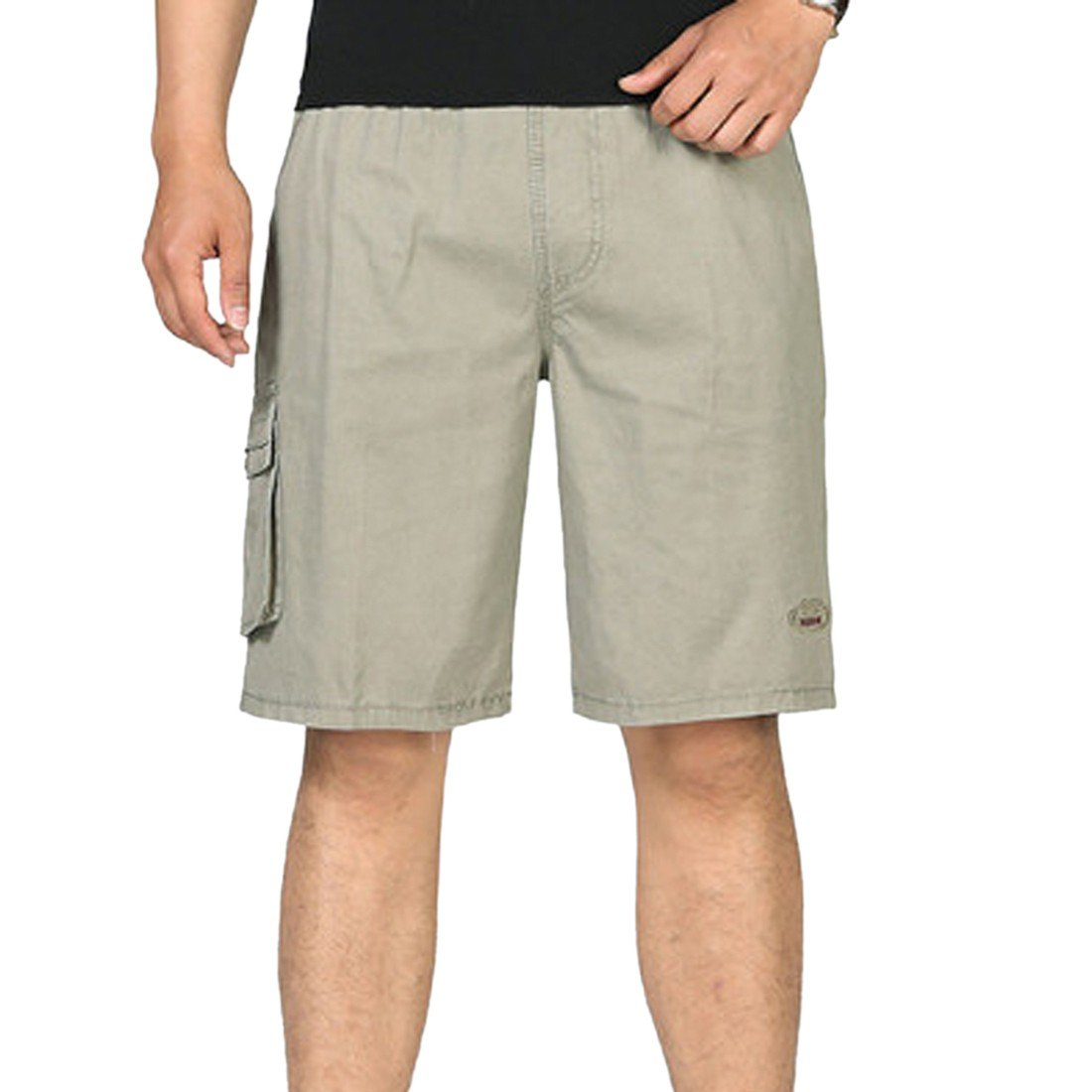 Paixpays Mens Casual Slim Fit Cotton Solid Multi-Pocket Cargo Shorts E3096S0328