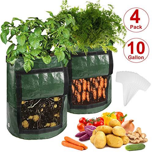 CicoYinG 4-Pack 10 Gallon Potato Grow Bags - Plant Growing Bags w/Drainage Holes & Access Flap & Handles, Garden Bag Plant Pot for Grow Vegetables, Plant Bags Fabric Pots w/8Pcs Plant Labels