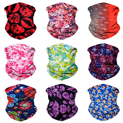 Sojourner 9PCS Seamless Bandanas Face Mask Headband Scarf Headwrap Neckwarmer & More - 12-in-1 Multifunctional for Music Festivals, Raves, Riding, Outdoors (9PCS Bright & Light - Pattern Scarf Set