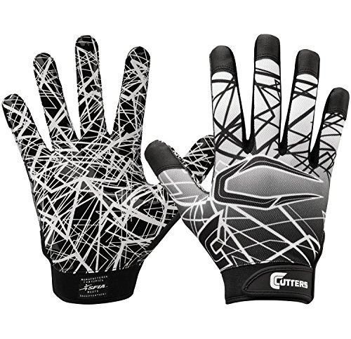 - Cutters Gloves S150 Game Day Receiver Gloves, Black, Large