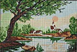 BOAT AT THE LAKE NEEDLEPOINT CANVAS FROM DIAMANT #F34 CANVAS ONLY