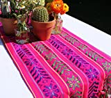 Del Mex Woven Rebozo Style Mexican Table Runner Scarf (Pink)