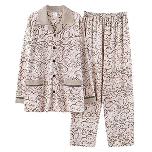 52cd427701 Pijamas de dormir de manga larga para hombres Conjunto de ropa interior  térmica de algodón suave