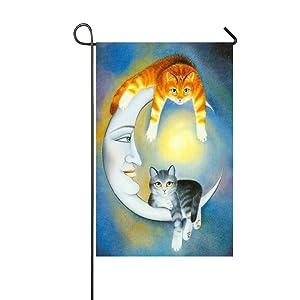 Rossne G sun Sun Moon Goddess Stars Orange Grey Cats Watching You Garden Flag House Flag Decoration Double Sided Flag 12.5 x 18 Inch