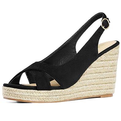 1805b6478bc Allegra K Women's Slingback Espadrille Platform Wedges Heel Sandals
