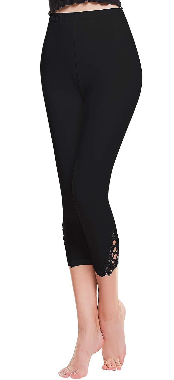 Abollria Damen 3//4 Leggins Blickdicht Leggings Hose mit Spitze D/ünne Stretch Caprihose