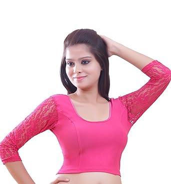ca22e9cf05689b Amazon.com  Pink Long Sleeve Ready-made Lycra Stretchable Saree Blouse Sari  Choli Crop Top - L  Clothing