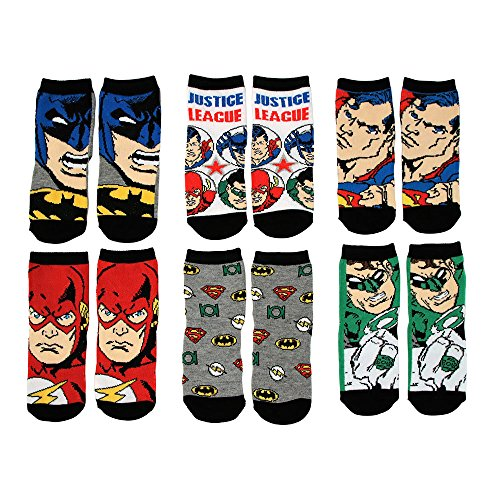 DC Comics Toddler Or Little Boys Justice League Crew Socks, 6-Pack